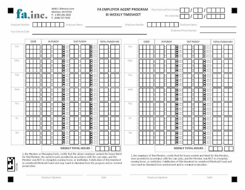 Bi-weekly Timesheet Printable form