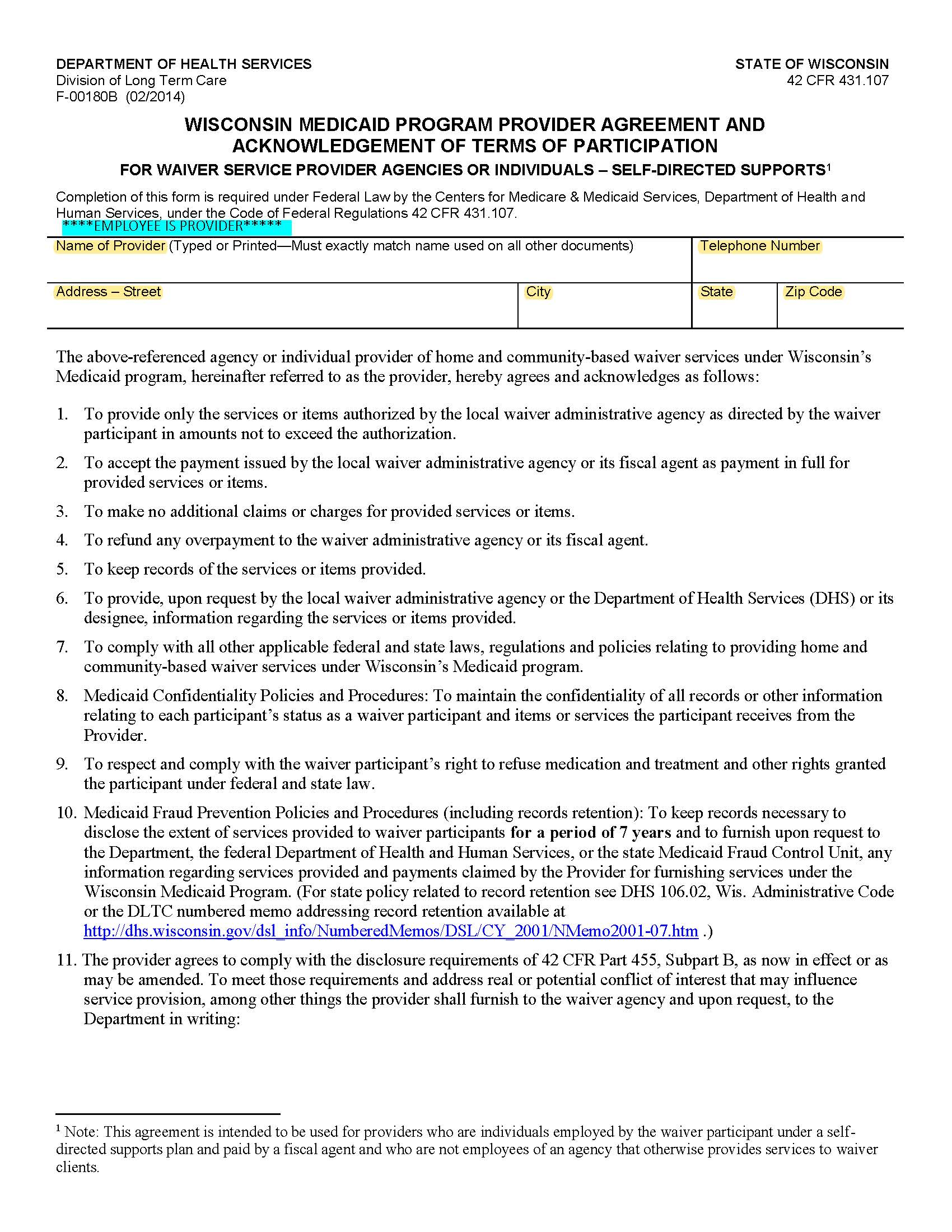 Medicaid Provider Agreement for CLTS