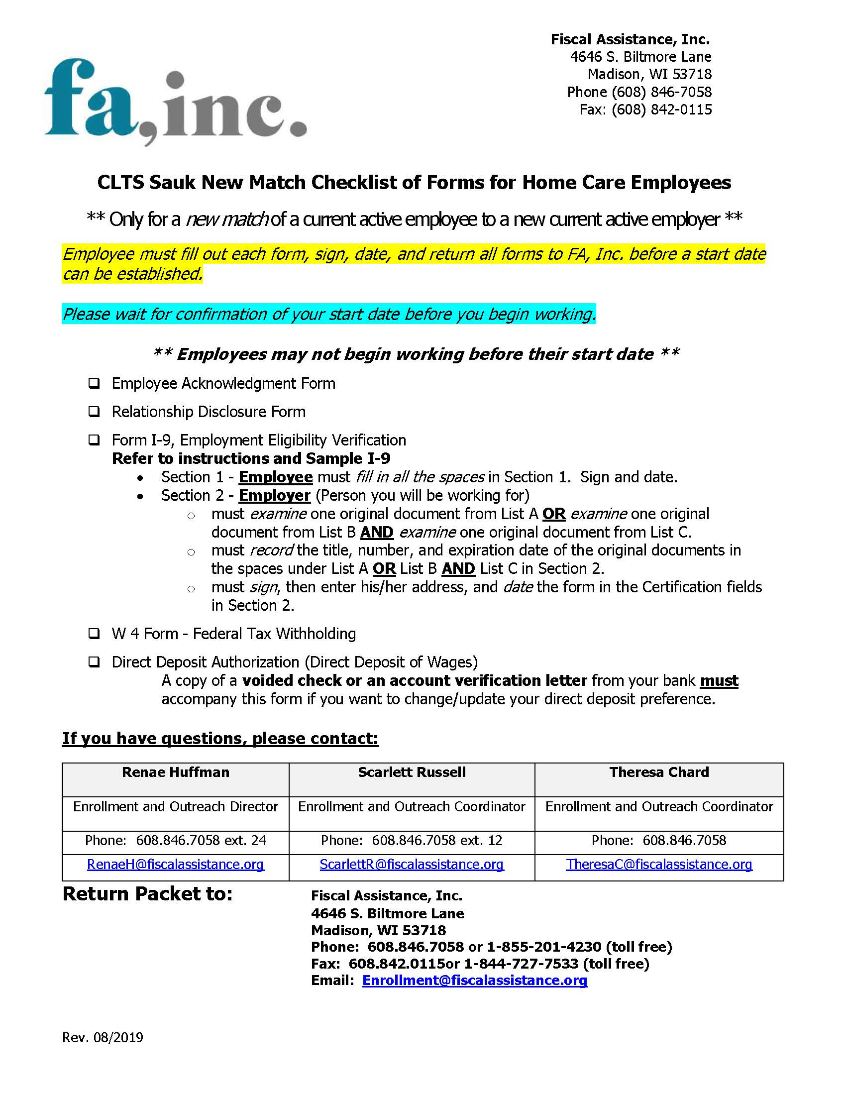Employee New Match Packet - CLTS Sauk