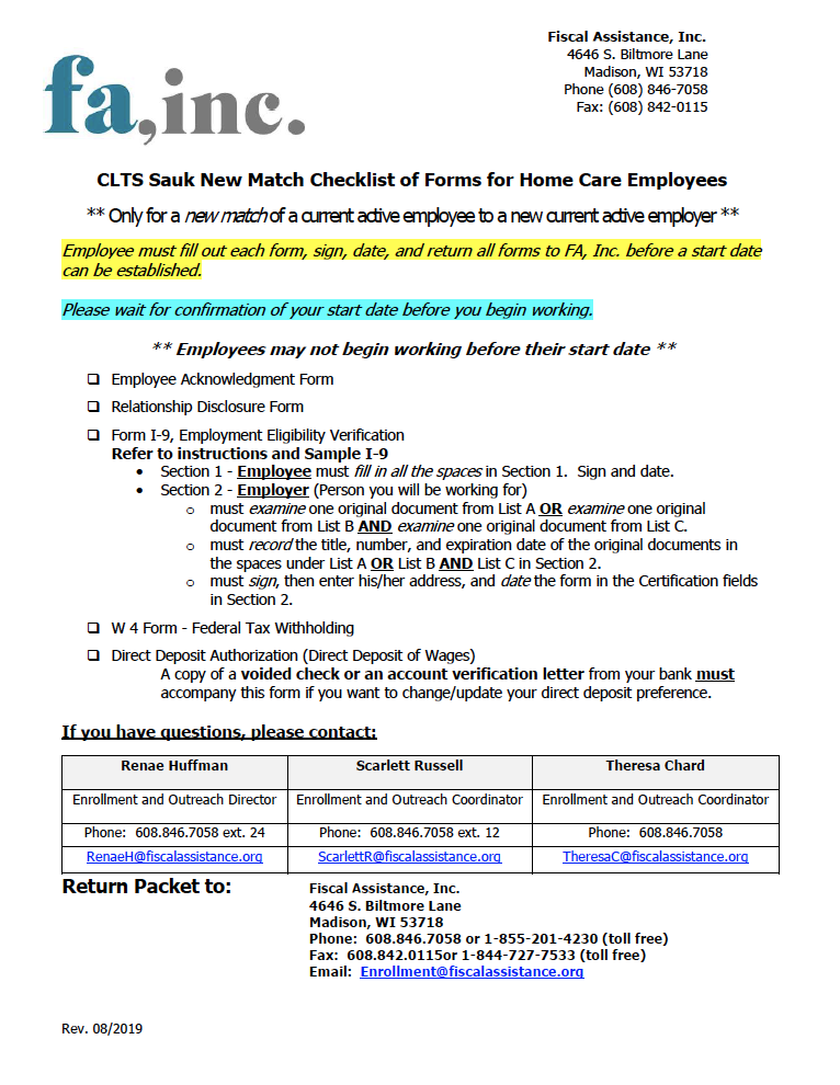 Employee New Match Packet - CLTS