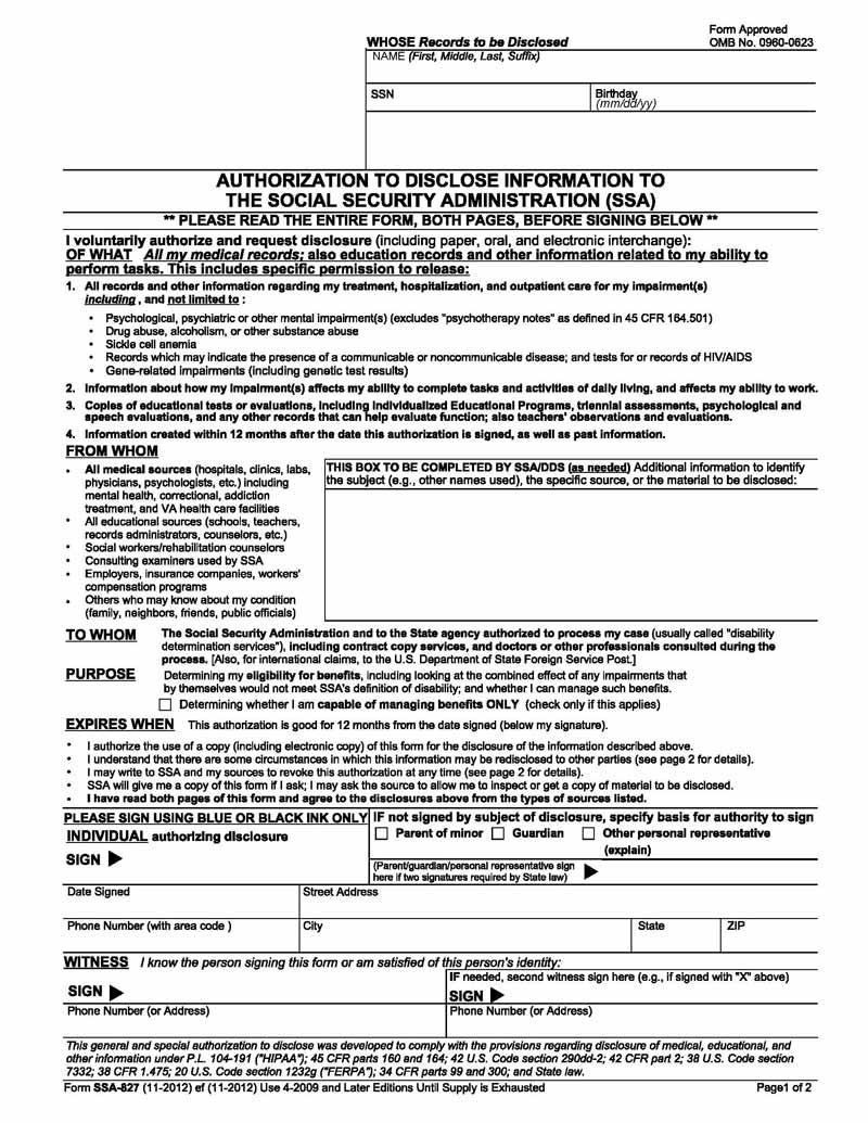 SSA Form 827