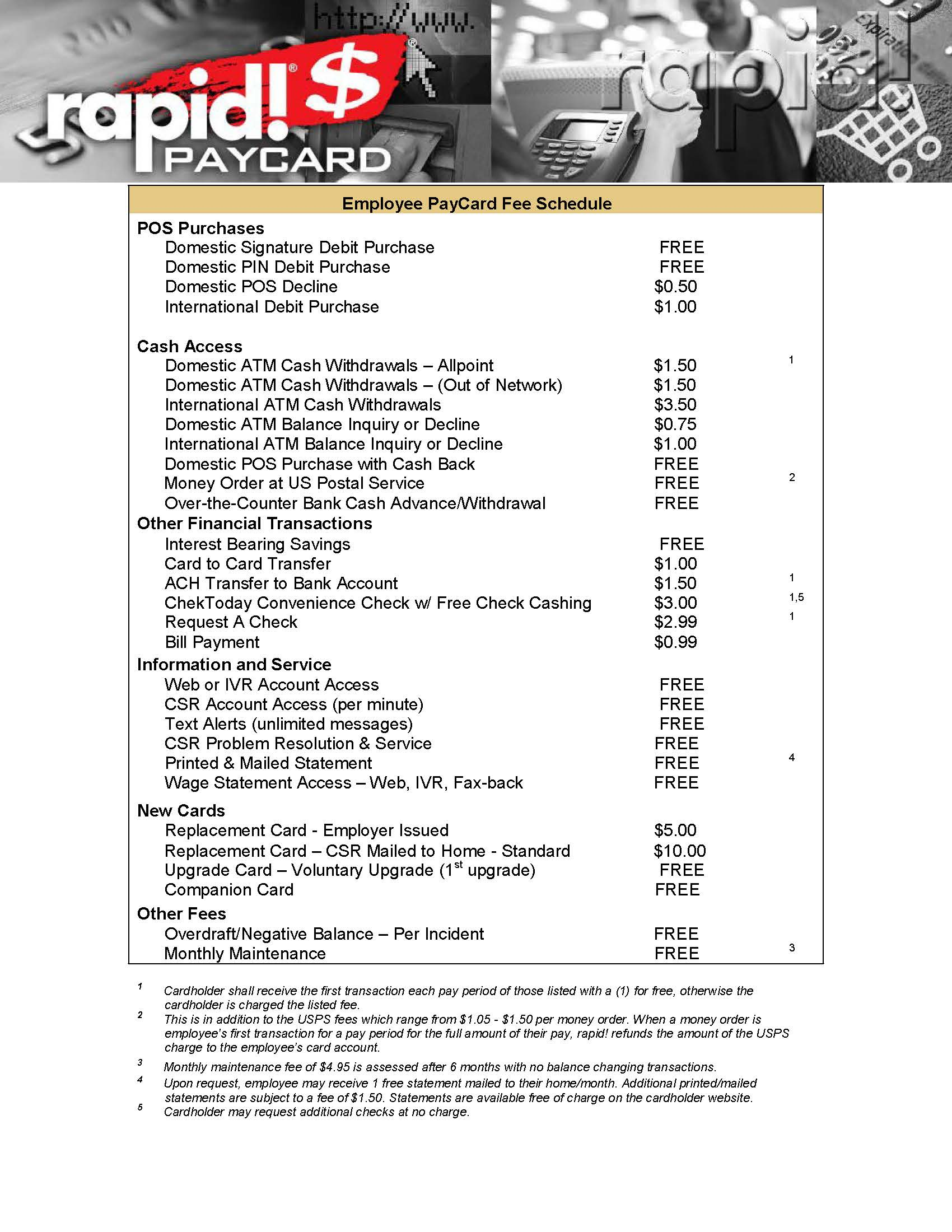 WEXrapid! PayCard Fee Schedule