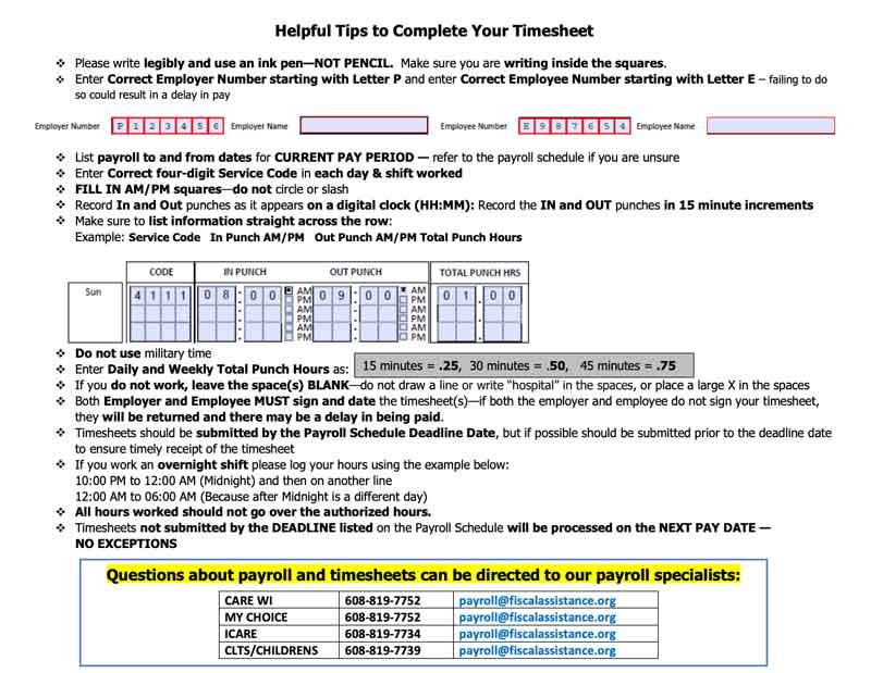 Timesheet Instructions