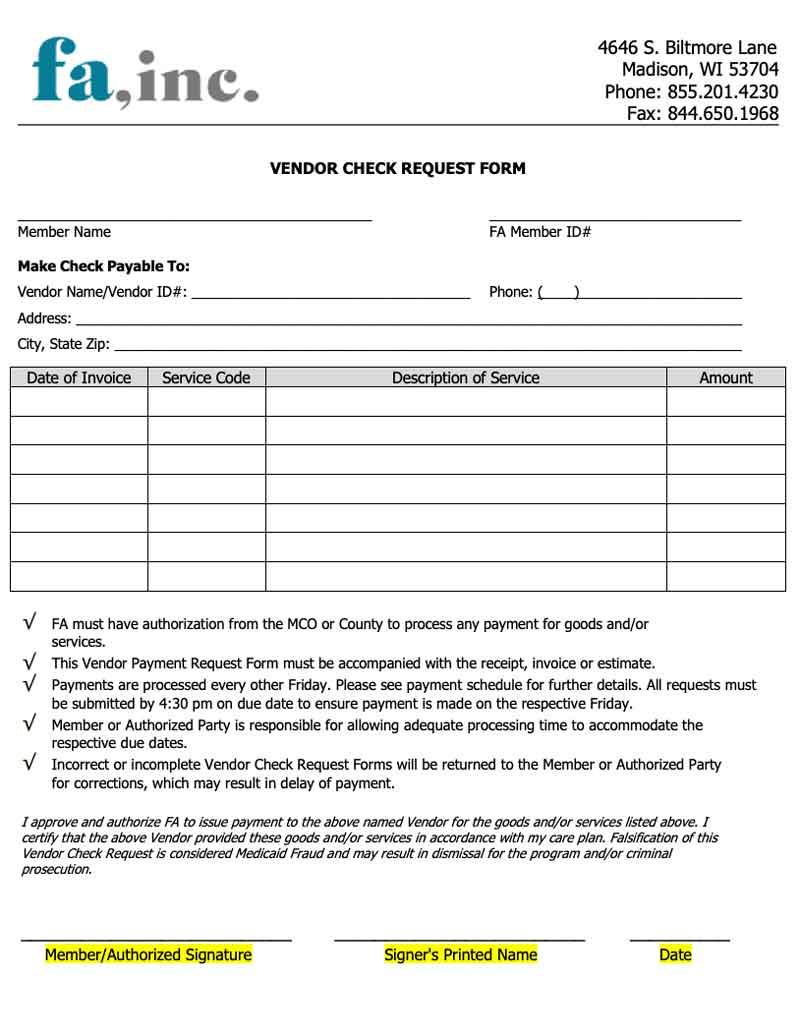 Vendor check request form