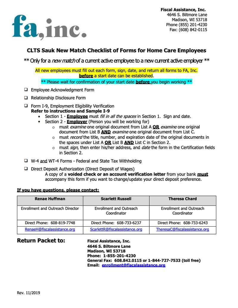 Employee New Match Packet - CLTS Sauk
