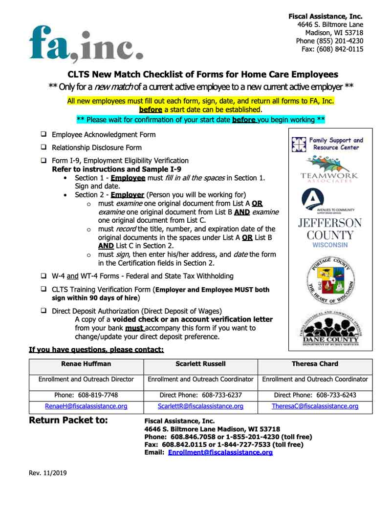 Employee New Match Packet - CLTS