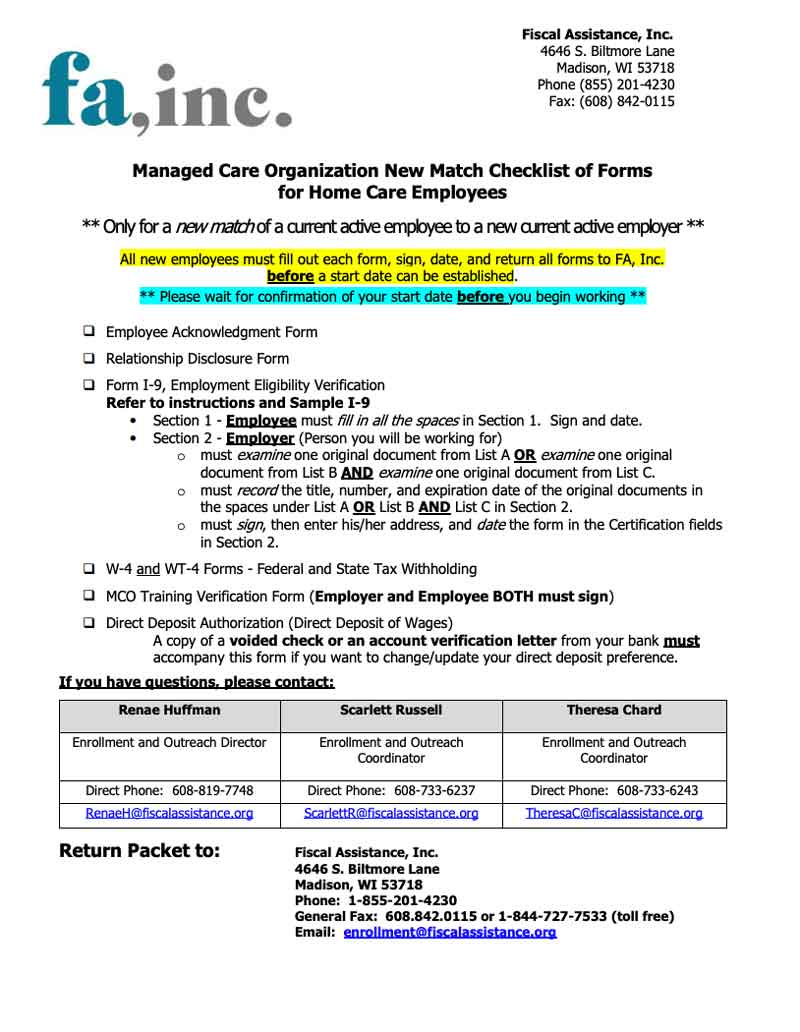 Employee New Match Packet - CARE WI