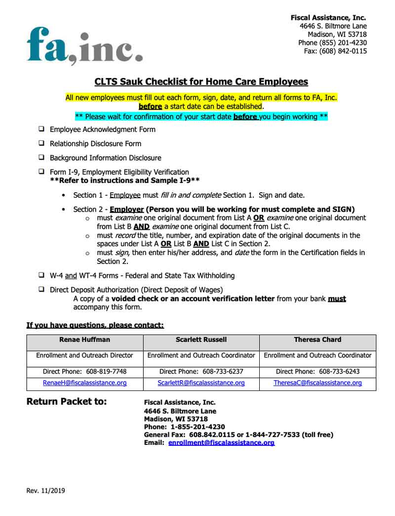 Employee Packet - CLTS Sauk