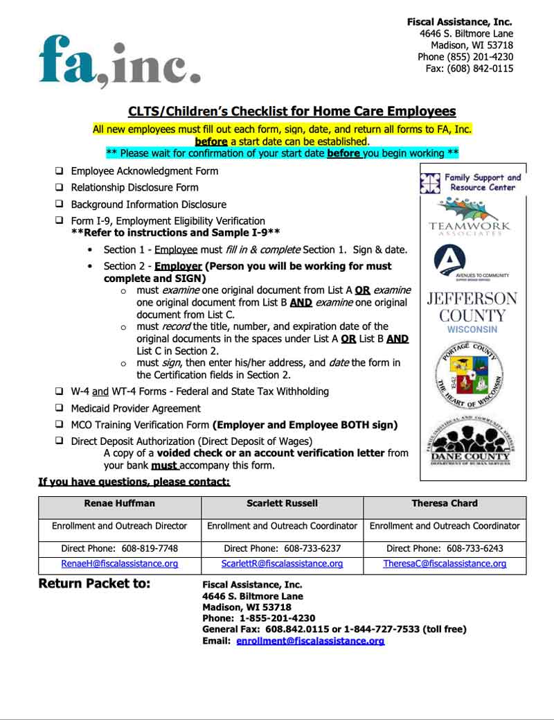 Employee Packet - CLTS