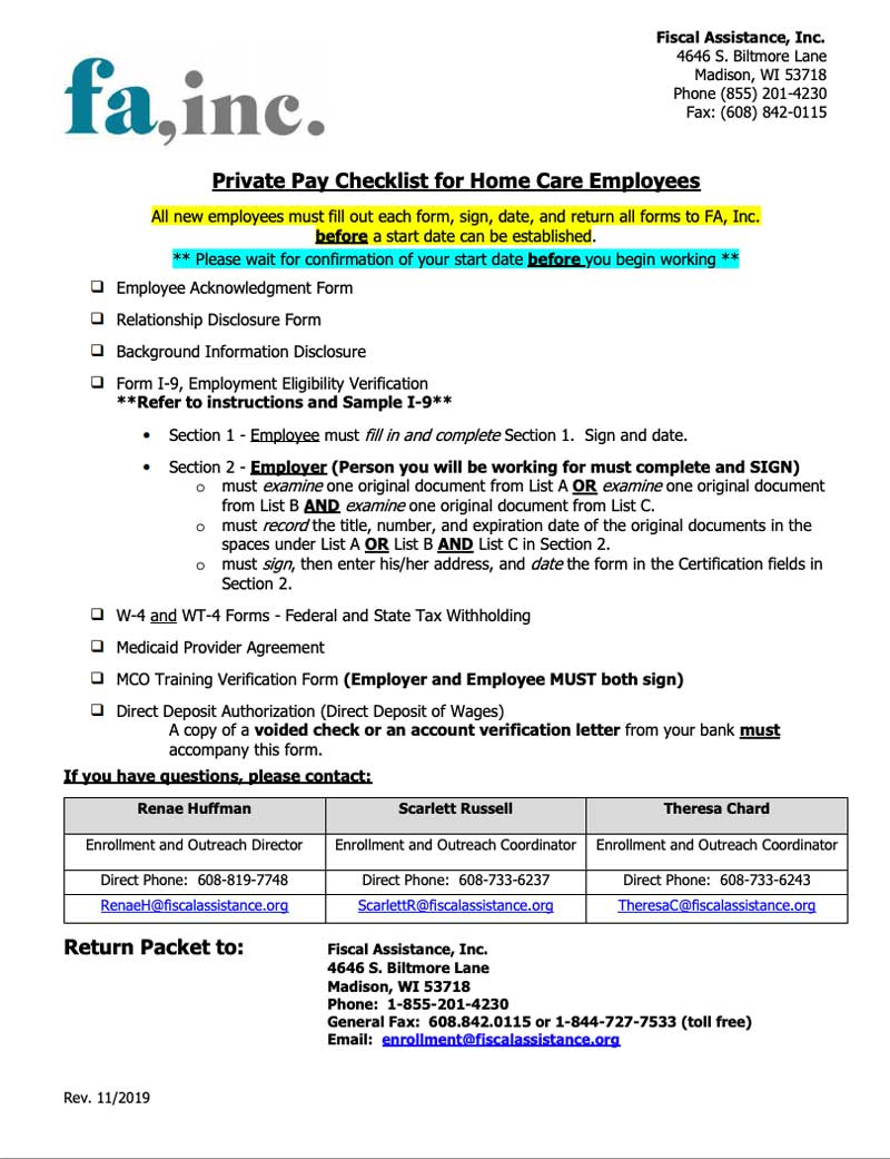 Employee New Match Packet - iCare